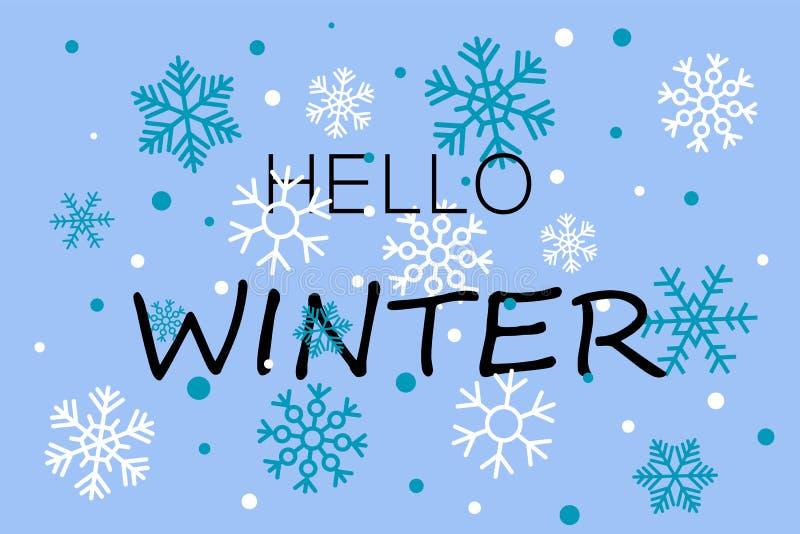 Hallo blaue Fahne des Winters mit Schneeflocken lizenzfreie abbildung