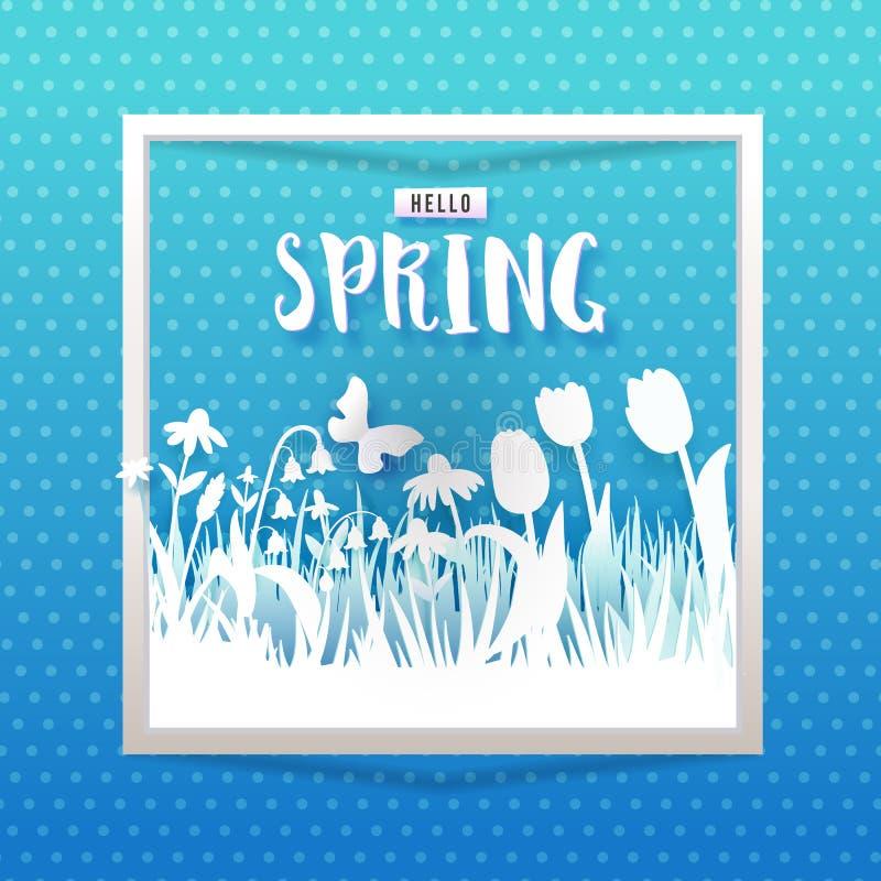 Hallo blaue quadratische Fahne des Frühlinges lizenzfreie abbildung
