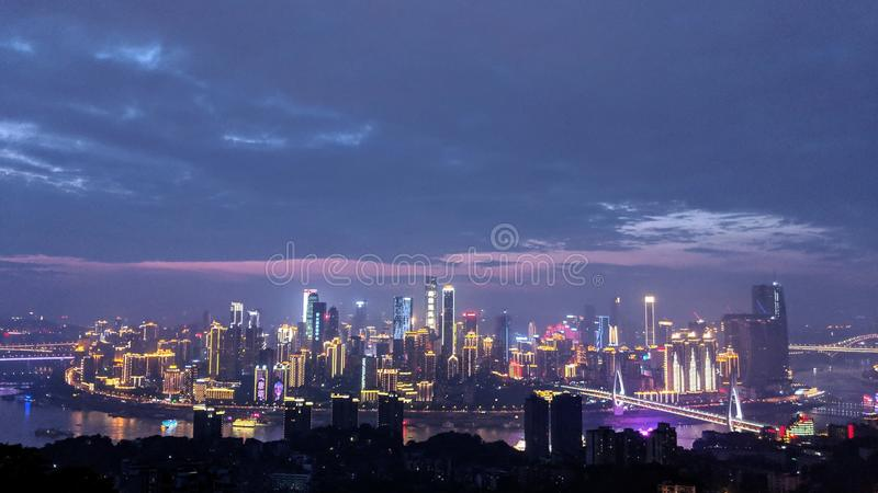 Hallo Chongqing. The best night view of Chongqing, after the sunset stock image