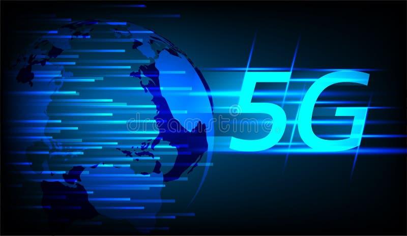 Hallo de verbindingsconcept van snelheidsinternet, 5g sommige Elementen van dit die beeld door NASA wordt geleverd royalty-vrije illustratie