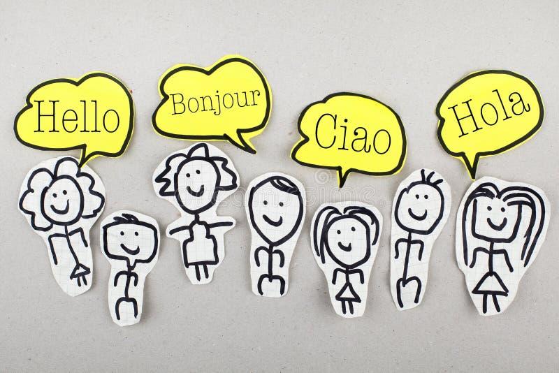 Hallo in den verschiedenen internationalen globalen Fremdsprachen Bonjour Ciao Hola stockfotos