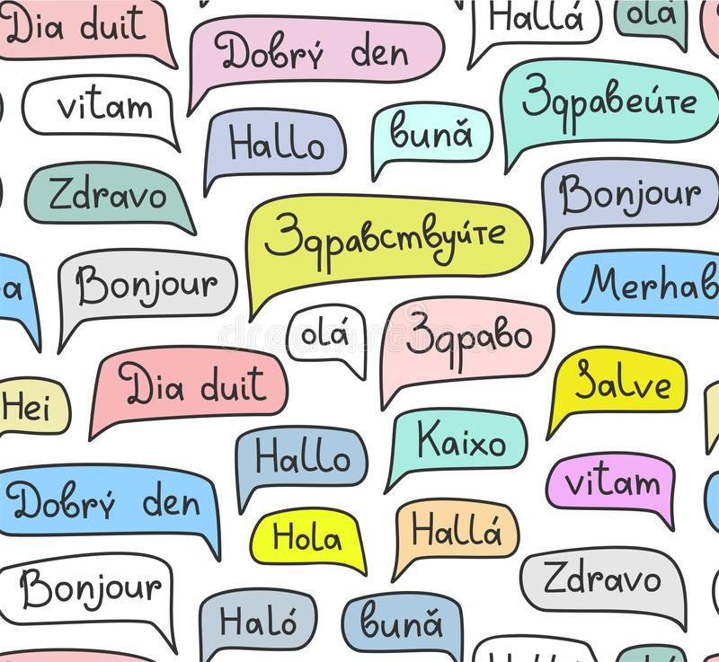 Hallo, europäische Sprachen, nahtloses Muster, Konturnzeichnung, Farbe, Weiß, Vektor stock abbildung