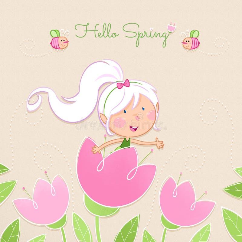 Hallo Frühling - nette Blumenfee lizenzfreie abbildung