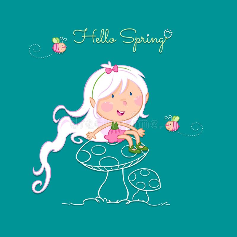 Hallo Frühling - nette kleine Fee und die Biene lizenzfreie abbildung