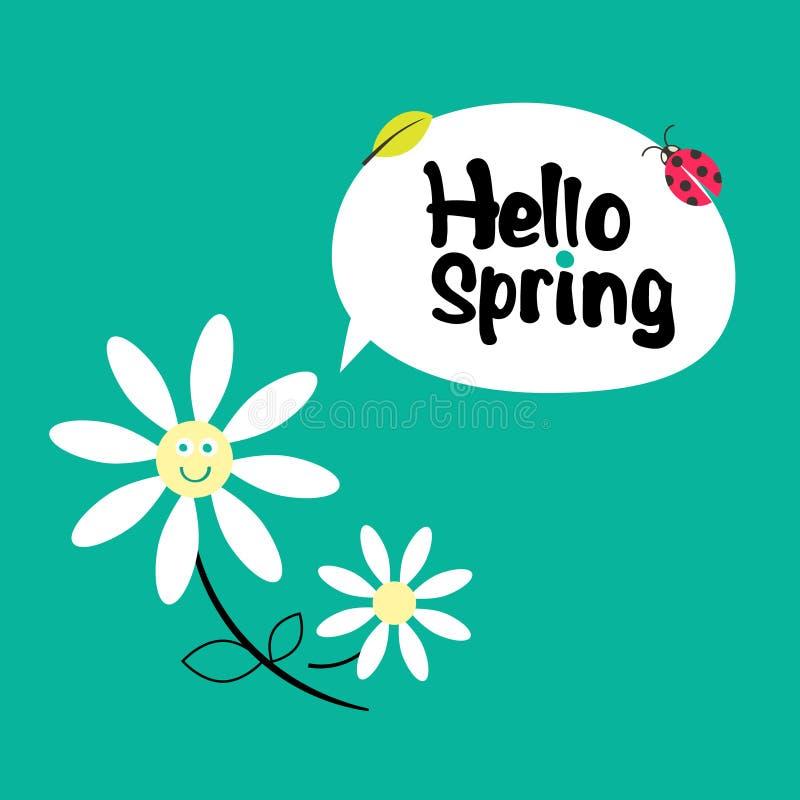 Hallo Frühling Retro- flippige Karikatur lizenzfreie abbildung