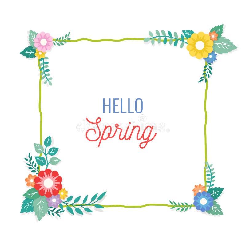 Hallo Frühlings-Text mit Rahmen der Blumenstrauß-Blumen-Anordnung und der Blatt-Verzierung Gruß-Karte, Hintergrund, Plakat, Fahne lizenzfreie abbildung