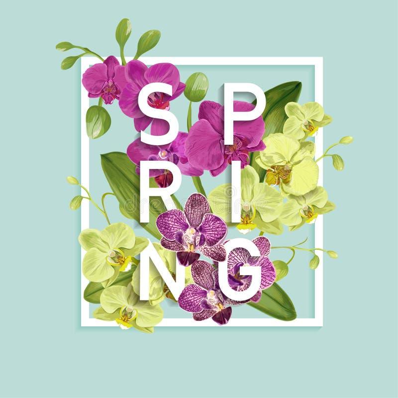 Hallo Frühlings-tropisches Design Tropische Orchidee blüht Hintergrund für Plakat, Verkaufs-Fahne, Plakat, Flieger floral vektor abbildung