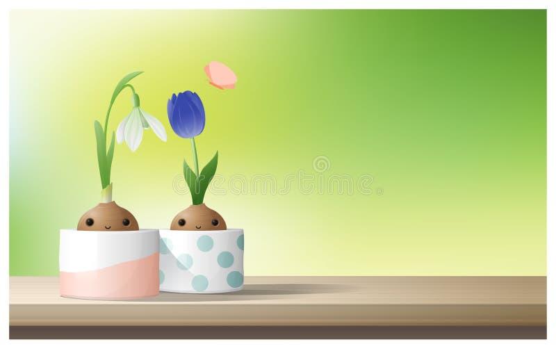 Hallo Frühlingshintergrund mit Frühlingsblume Tulpe, Schneeglöckchen auf die Holztischoberseite stock abbildung