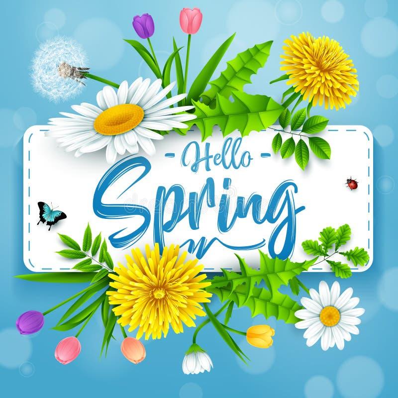 Hallo Frühlingshintergrund mit schöner Blume und Insekten auf blauem Hintergrund vektor abbildung