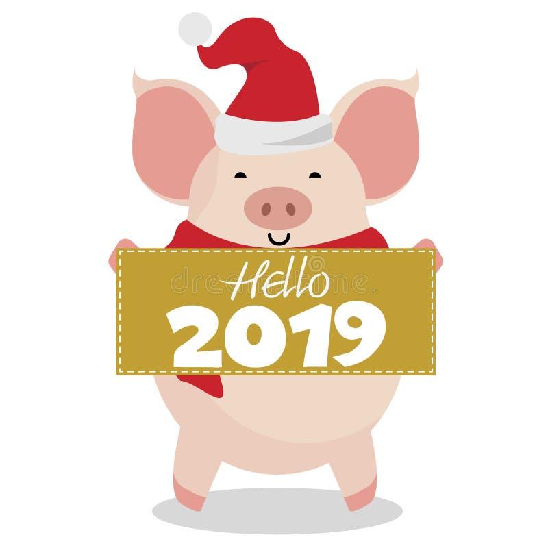 Hallo 2019-guten Rutsch ins Neue Jahr-nette piggy Karte vektor abbildung