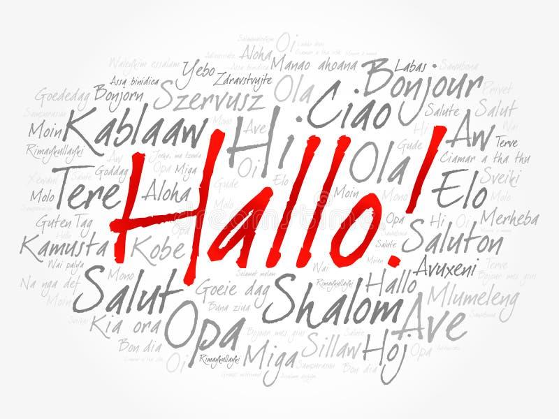Hallo Hello Greeting in German word cloud vector illustration