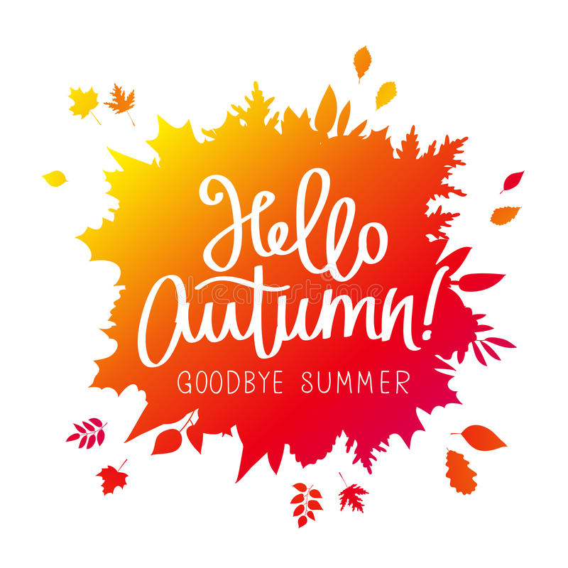 Hallo, Herbst Auf Wiedersehen, Sommer stock abbildung