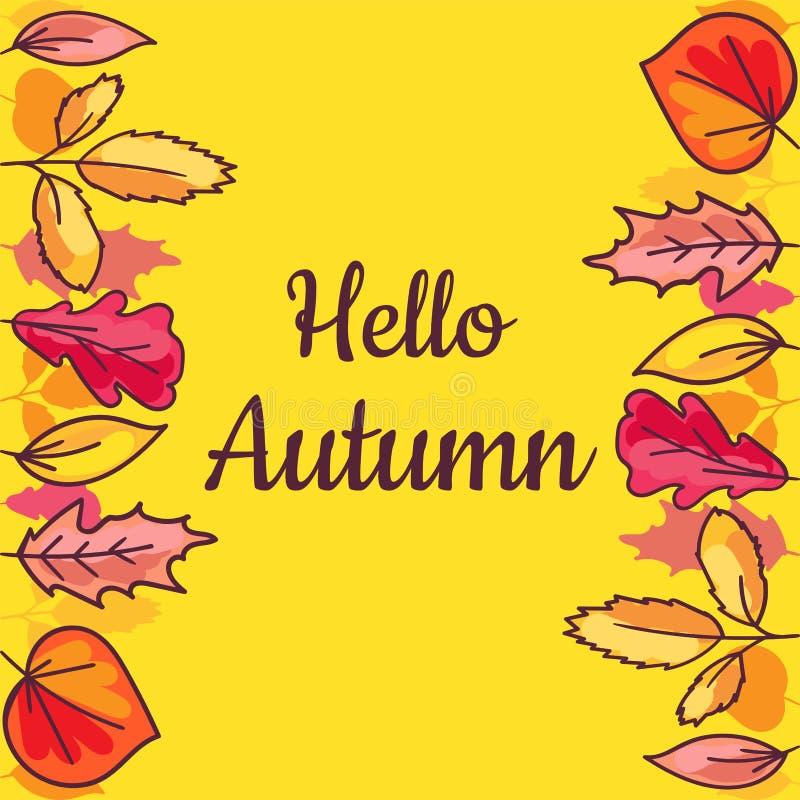 Hallo Herbstbanner mit handgezogenen trockenen Blättern vektor abbildung