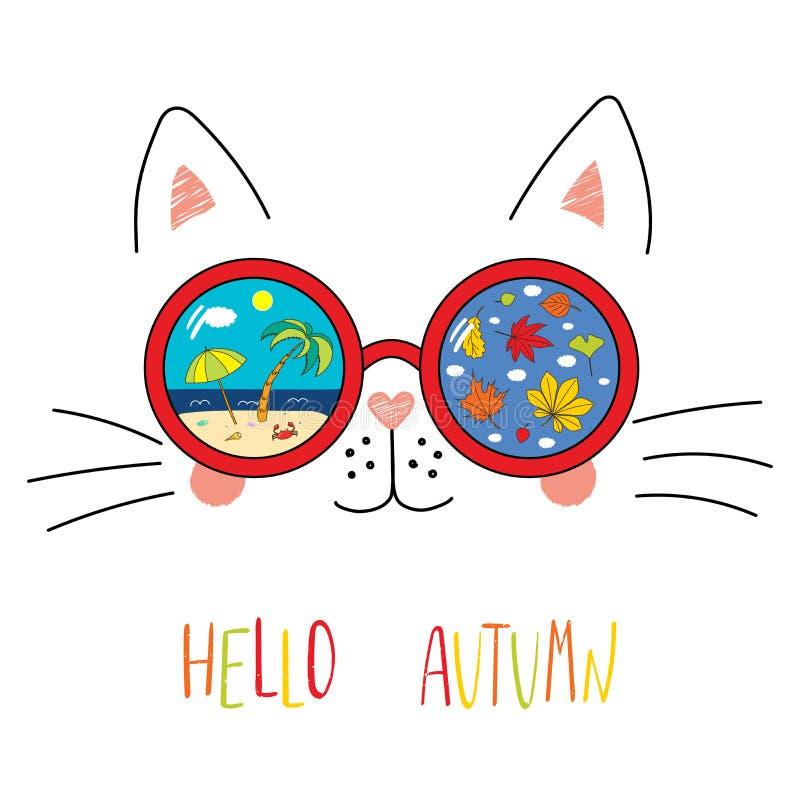 Hallo Herbstbeschriftung mit Katze in den Gläsern stockbilder