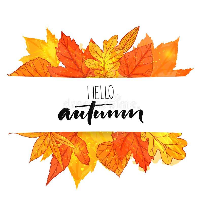 Hallo Herbstfahne mit der orange und roten Hand gezeichnete Blätter Vektorkalligraphiedesign Fallhintergrund mit goldenem Blatt stock abbildung