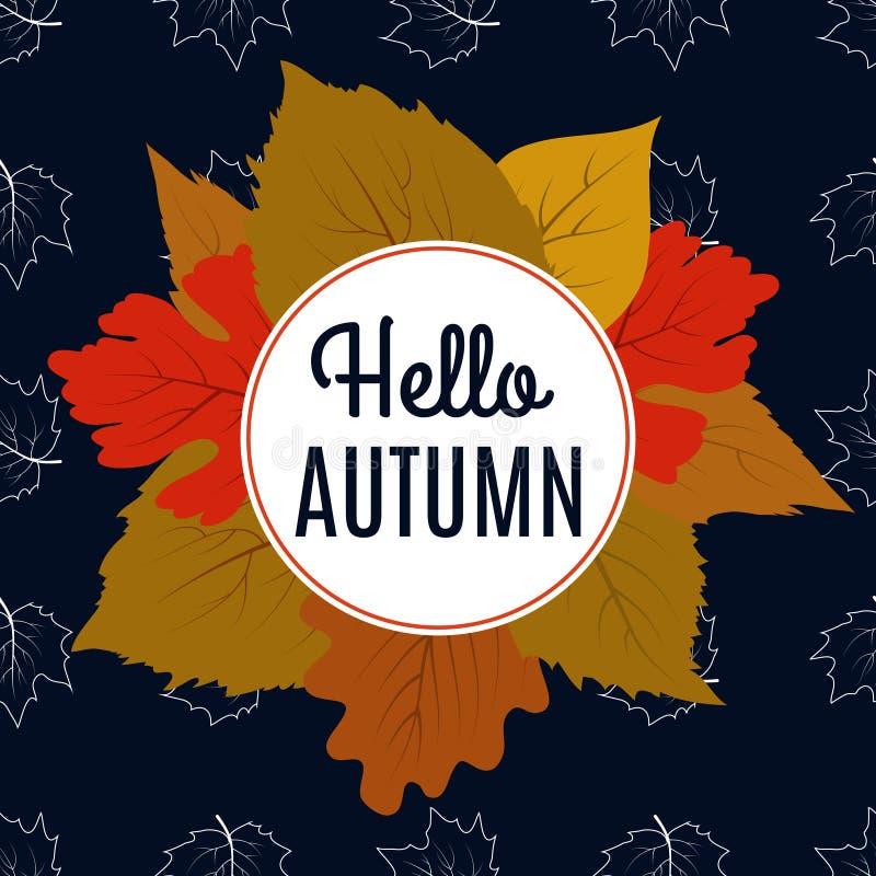Hallo Herbstfahne mit Farbblättern und Ahornlaub vektor abbildung
