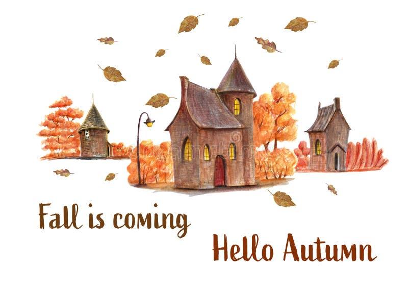 Hallo Herbsthandgezogene Illustration stock abbildung