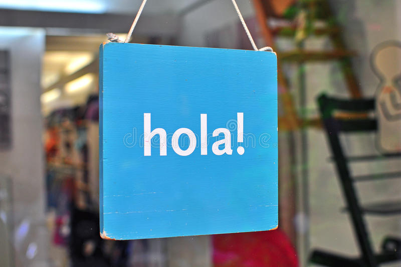 Hallo in het Spaans stock afbeeldingen