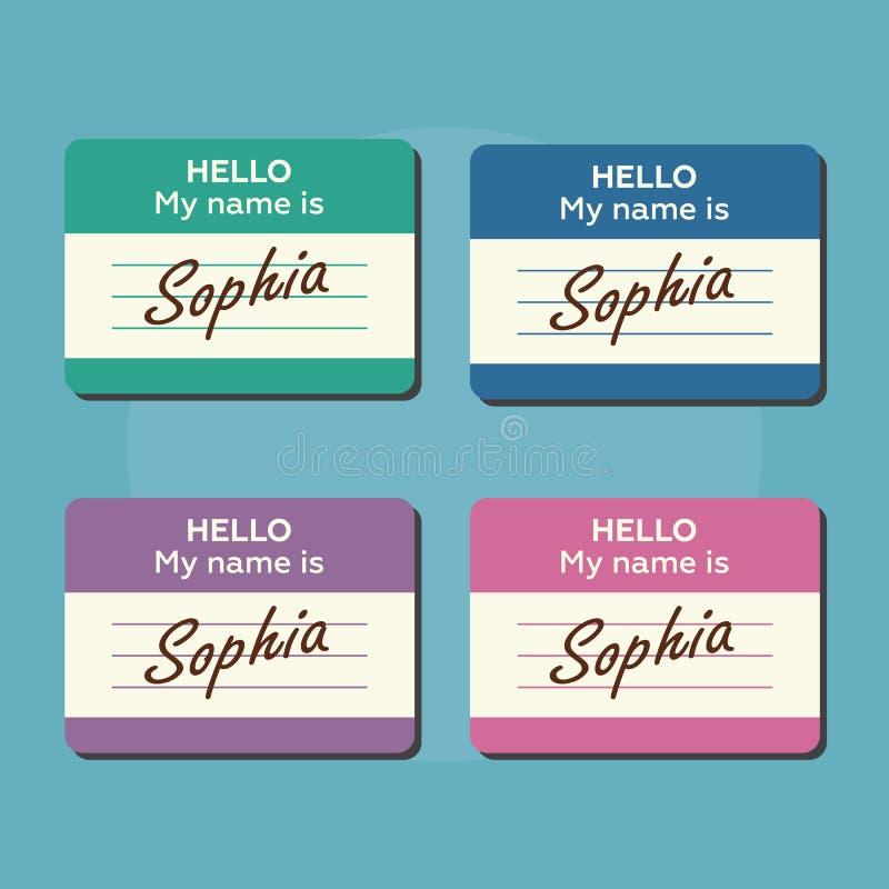 Hallo ist mein Name Einleitungskarten, -aufkleber und -ausweise eingestellt stock abbildung