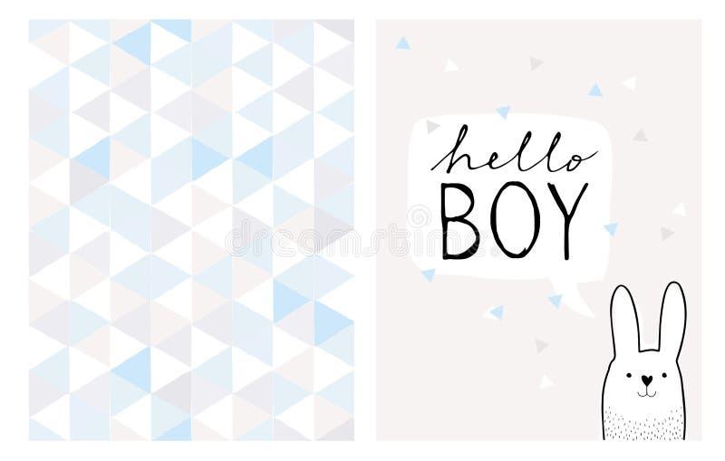 Hallo Jungen-Handgezogene Karte und unregelmäßiges Dreieck-Vektor-Muster stock abbildung
