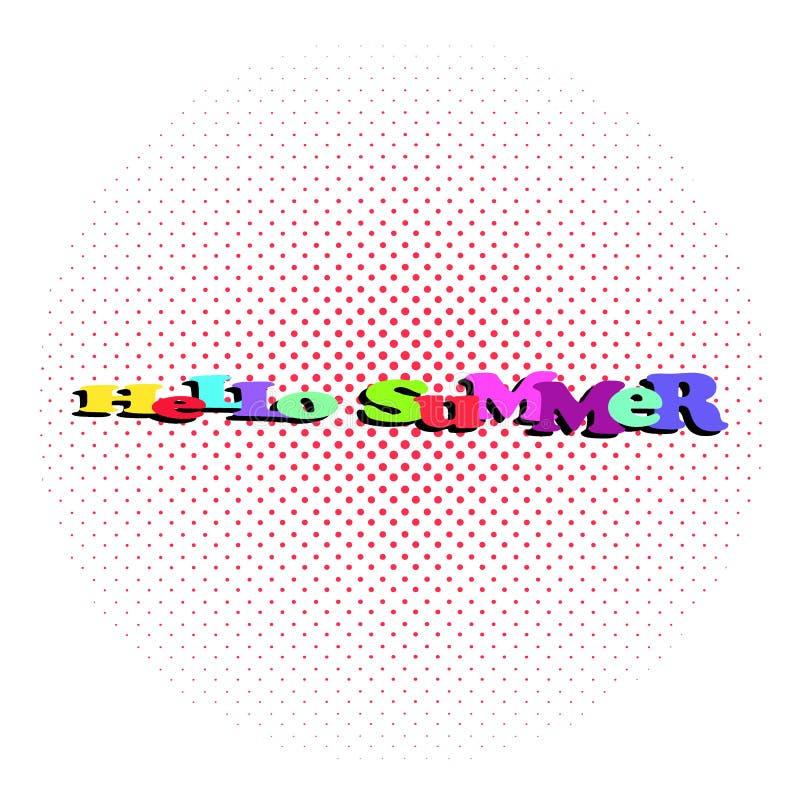 Hallo komischer Text der Sommerurlaubsreise Pop-Arten-Comics buchen Sommerzeit-Plakatphrase Vektor farbiges Halbton lizenzfreie abbildung
