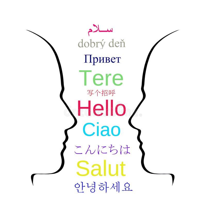hallo Lernen Sie, dass Studie moderne Sprachen sprechen - schließen Sie ein stock abbildung