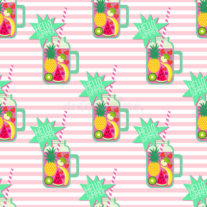 Hallo nahtloses Muster des Sommers Frischer Smoothie und Früchte auf abgestreiftem Hintergrund vektor abbildung
