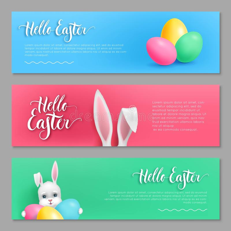 Hallo Ostern-Kartenhäschensatz stock abbildung