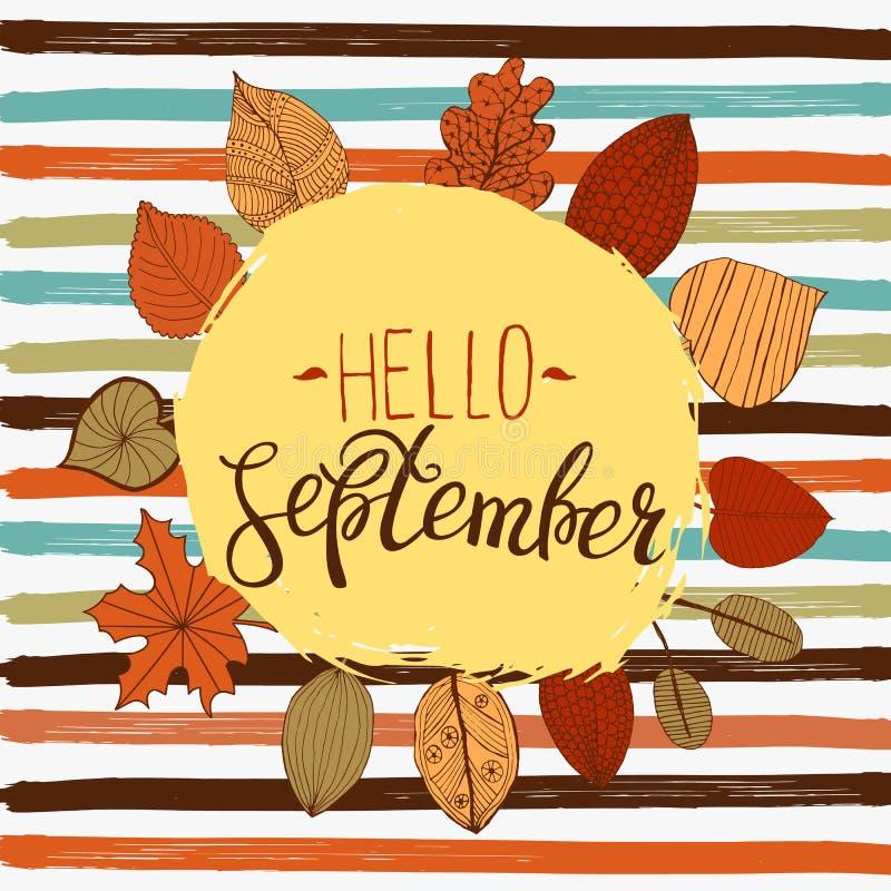 Hallo September-Herbstfliegerschablone mit Beschriftung Helle Fall-Blätter Plakat, Karte, Aufkleber, Fahnendesign Auch im corel a lizenzfreie abbildung