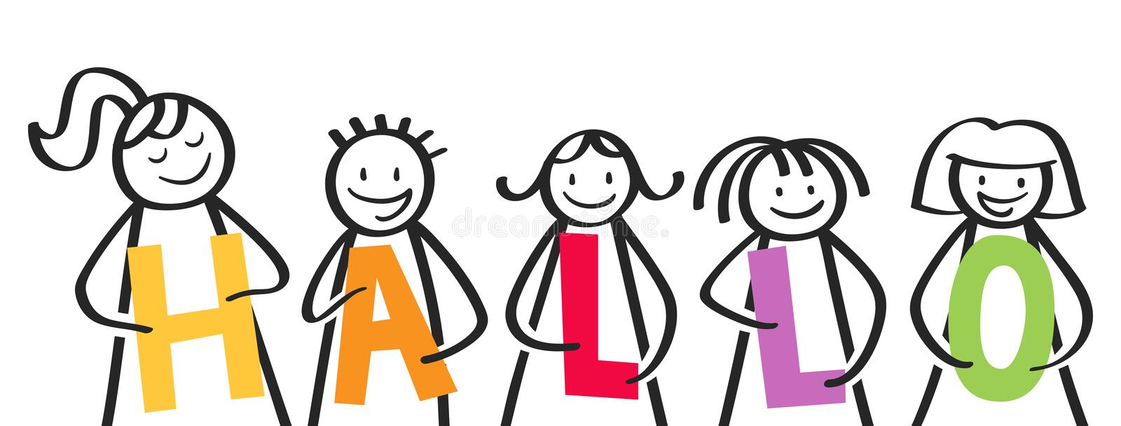 HALLO, smiling group of stick figures holding colorful letters, welcome address, german kids saying hello royalty free illustration