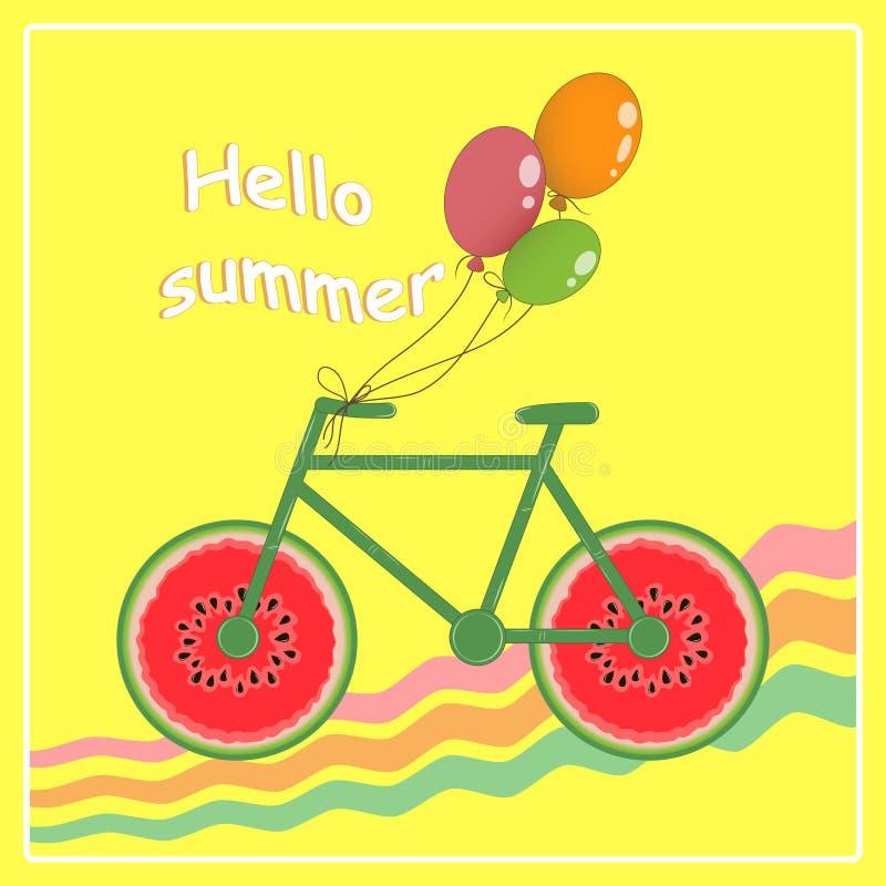Hallo Sommer Bild eines Fahrrades mit Rädern in Form einer Wassermelone Junge Erwachsene Auch im corel abgehobenen Betrag lizenzfreie abbildung