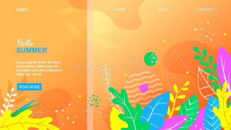 Hallo Sommer-Blumenmuster auf orange Hintergrund stock abbildung