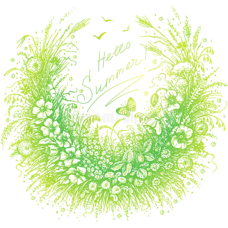 Hallo Sommer-Blumenrahmen stock abbildung