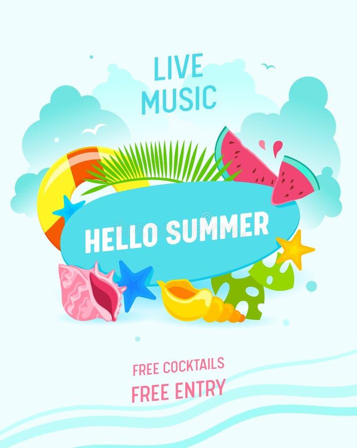 Hallo Sommer-Fahne, Live Music Flyer, Einladung, Sommerzeit-Einzelteil-Palmblätter, Starfish, Rettungsring, Wassermelonen-Stücke stock abbildung