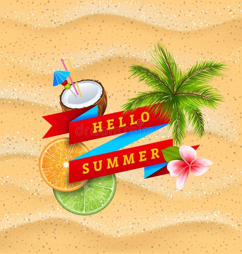 Hallo Sommer Fahne Mit Blume, Kokosnuss Cocktail, Palme Blättern, Scheiben  Der Orange Und Kalk Vektor Abbildung   Illustration Von Freizeit, ...