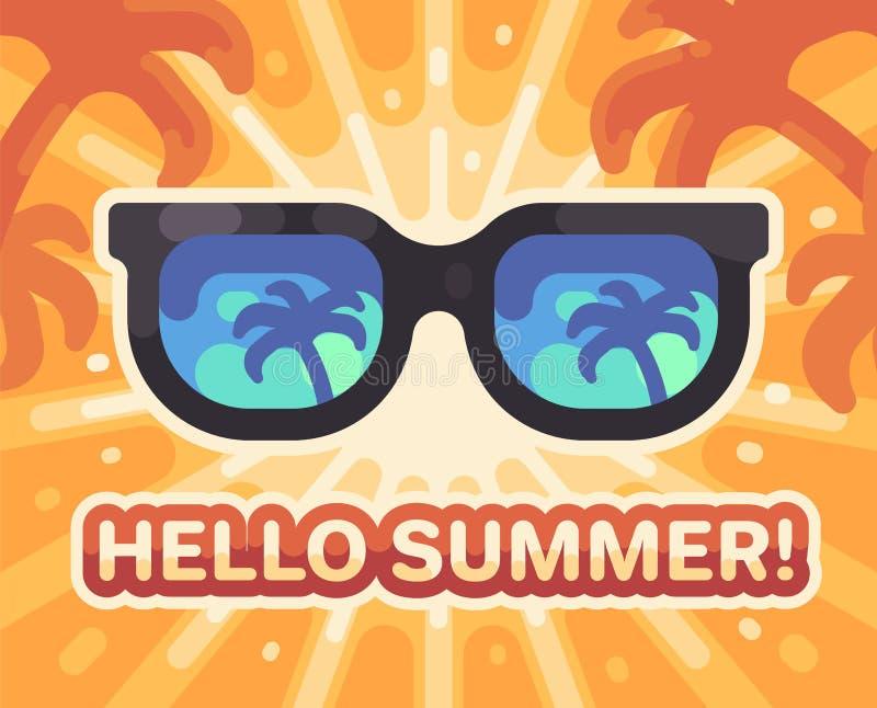 Hallo Sommer! Flache Illustration des bunten Sommerstrandes lizenzfreie abbildung