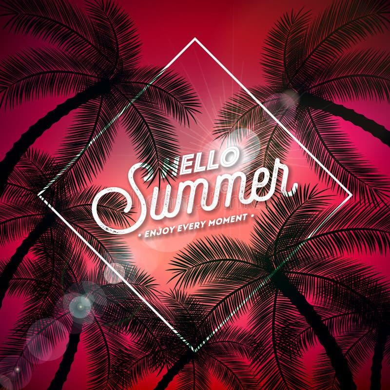 Hallo Sommer-Illustration mit Typografie-Buchstaben und tropische Palmen auf rotem Hintergrund Vektor-Feiertags-Entwurf mit stock abbildung