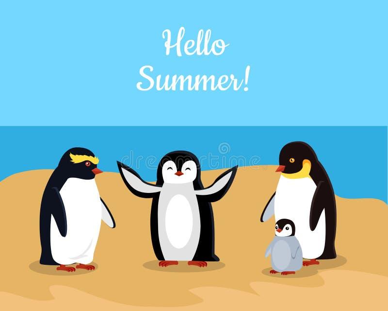 Hallo Sommer Lustige Kaiser-Pinguin-Familie lizenzfreie abbildung