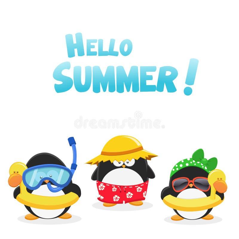 Hallo Sommer-Pinguine stock abbildung
