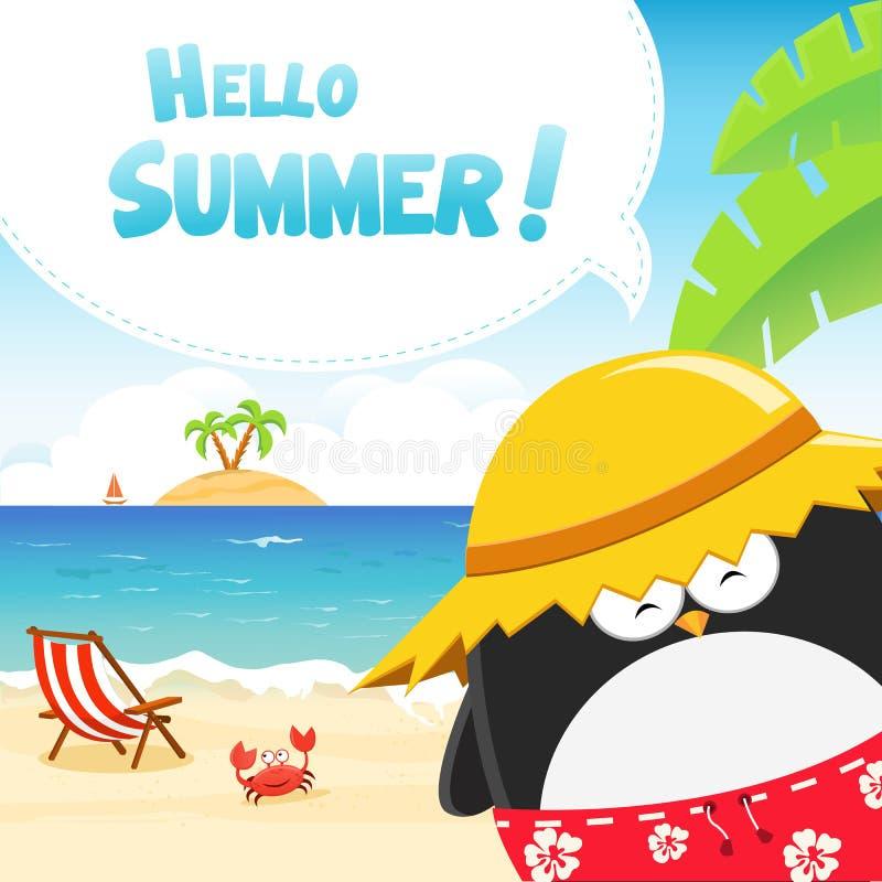 Hallo Sommer-Pinguine lizenzfreie abbildung