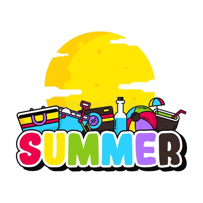 Hallo Sommer-Plakat-Illustrations-Vektor lizenzfreie abbildung