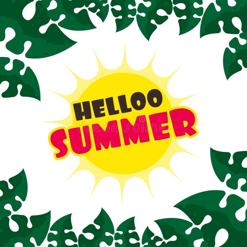 Hallo Sommer-Plakat-Illustrations-Vektor stock abbildung