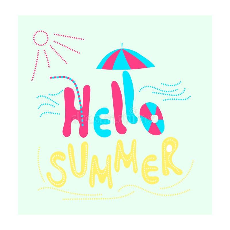 Hallo Sommer Stimmungsferien, Meer, Sonne, Strand Flache Vektorillustration und -Kalligraphie lizenzfreie abbildung