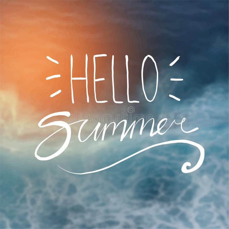 Hallo Sommer-Typografie auf Sonnenschein unscharfer dunkelblauer Strand-Rückseite vektor abbildung