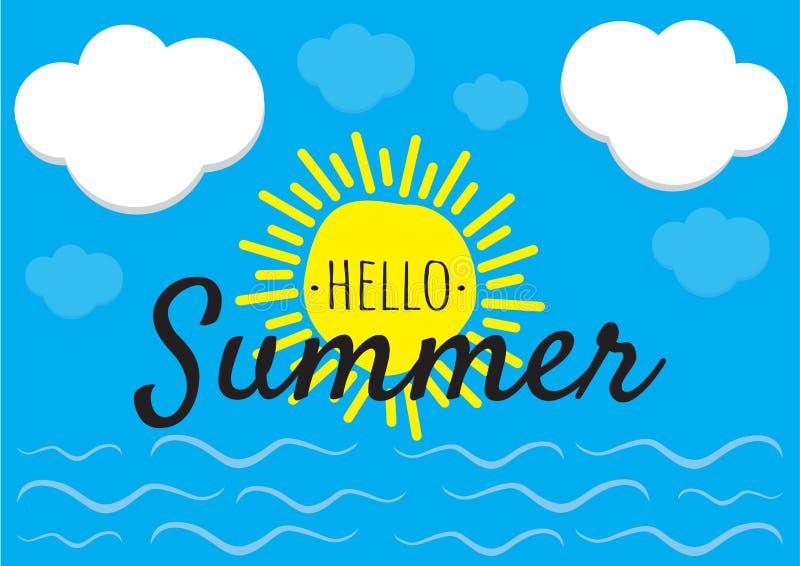 Hallo Sommer - Vektor, Entwurf, Sun, Himmel mit Wolken und Meer mit Wellen Illustration abfassend lizenzfreie abbildung