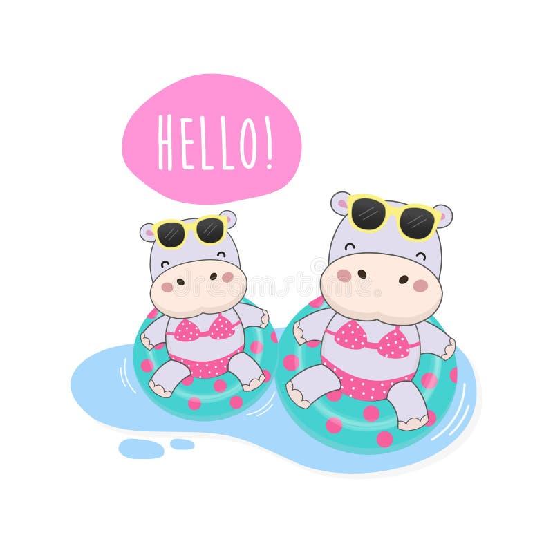 Hallo Sommer waren nettes Flusspferd Bikini und Schwimmenringkarikatur stock abbildung
