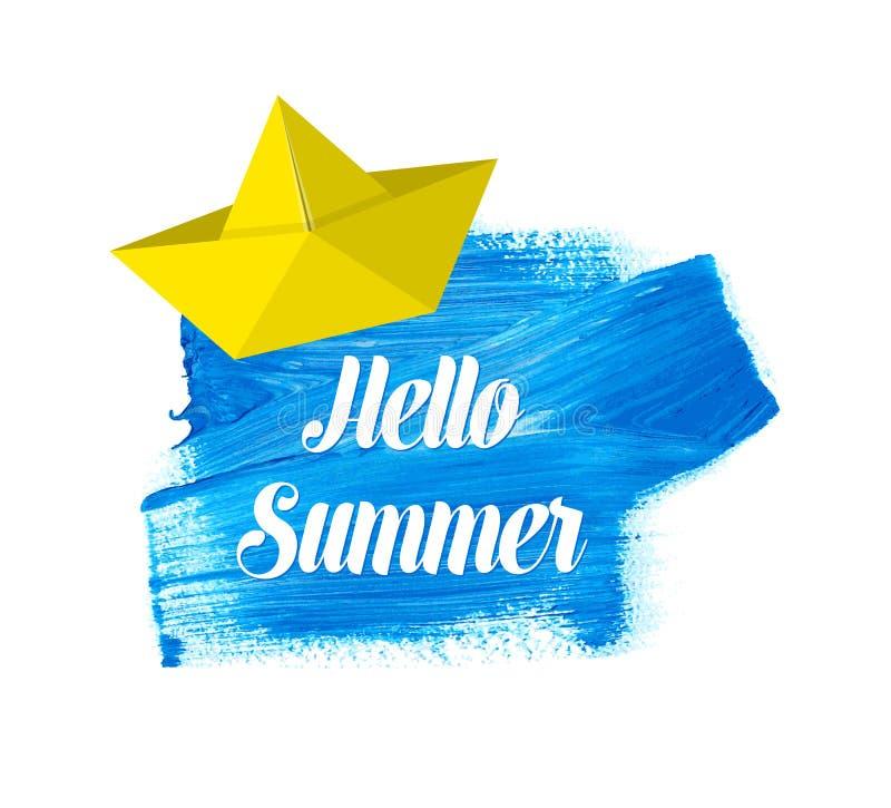 Hallo Sommerbeschriftung auf Aquarellfleck lizenzfreie abbildung