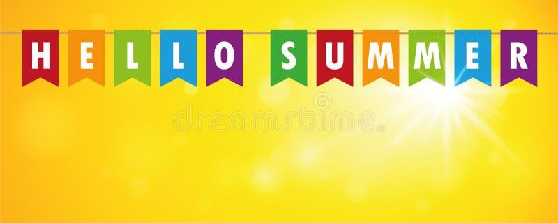 Hallo Sommerfestflaggenfahne auf gelbem sonnigem Hintergrund vektor abbildung