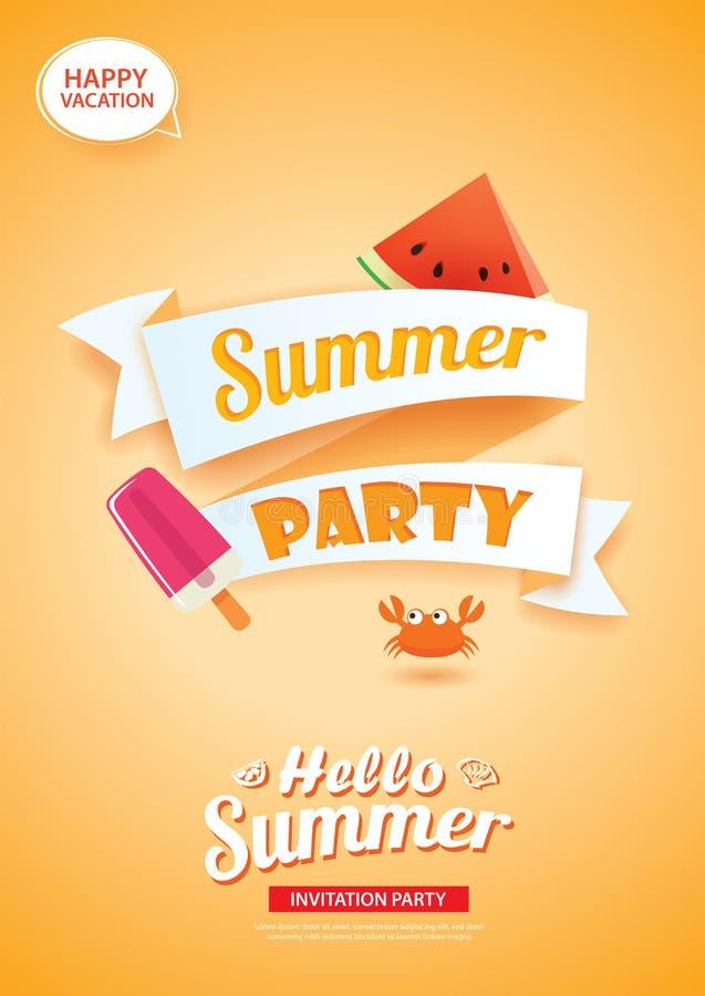 Hallo Sommerfestkartenfahne mit orange Hintergrund Gebrauch für p stock abbildung
