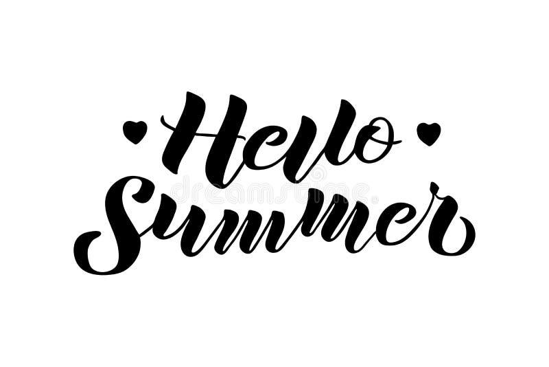 Hallo Sommerhand gezeichnet, Zusammensetzung beschriftend lizenzfreie abbildung